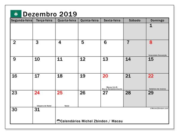Calendário dezembro 2019, com as festas do Macau. Calendário feriados para imprimir gratuitamente.