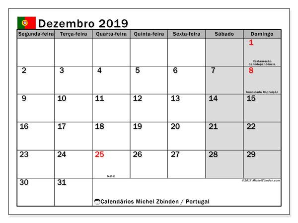 Calendário em dezembro  de 2019, com feriados públicos em Portugal. Calendário para imprimir livre.