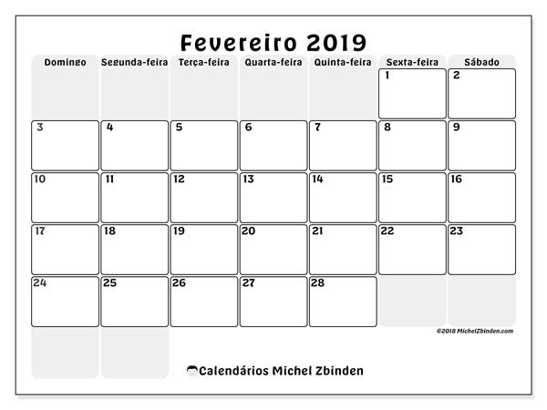 Calendário  fevereiro de 2019, 44DS