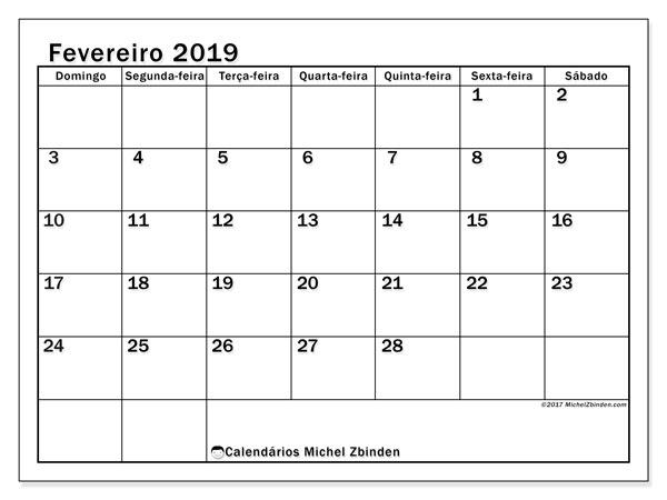 Calendário  fevereiro de 2019, 50DS