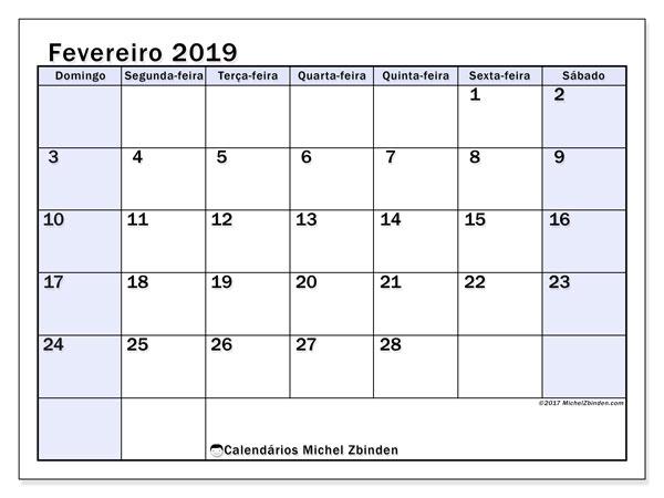 Calendário fevereiro de 2019 - 57DS. Calendário para imprimir: planejador mensal.