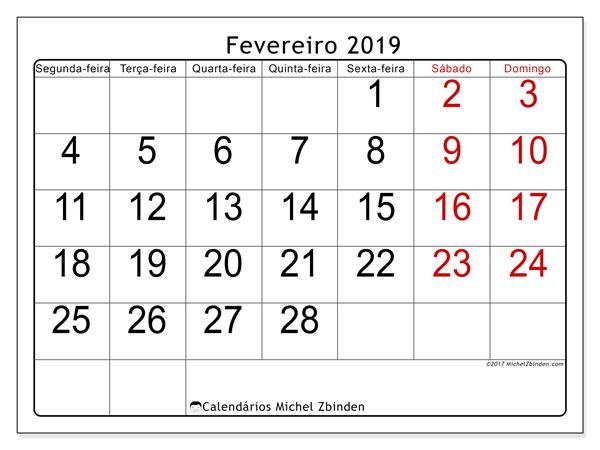 Calendário fevereiro 2019, 62SD. Agenda para imprimir livre.