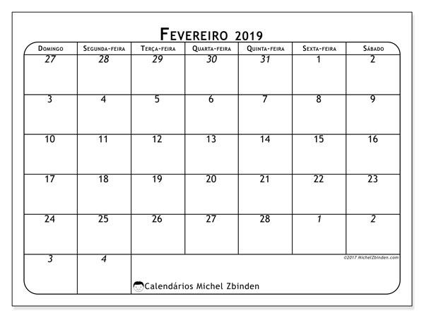 Calendário  fevereiro de 2019, 67DS