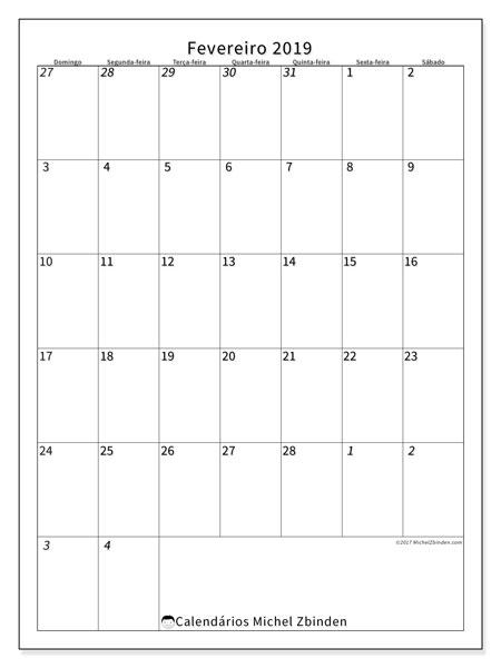 Calendário  fevereiro de 2019, 68DS