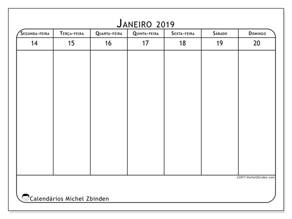 Calendário de janeiro  de 2019 (43-3SD). Calendário para a semana para imprimir livre.
