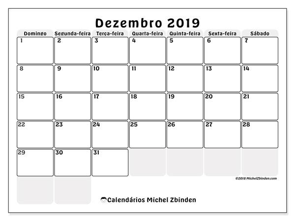 Calendário  janeiro de 2019, 44DS