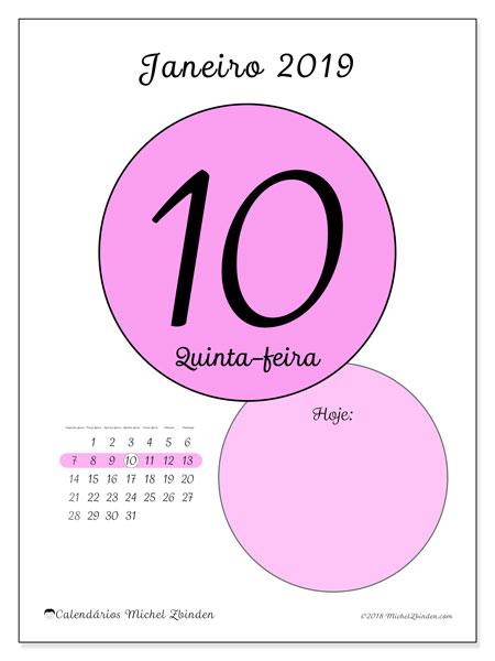 Calendário de janeiro  de 2019 (45-10SD). Calendário diário para imprimir gratuitamente.