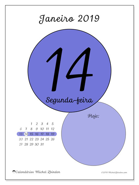 Calendário de janeiro  de 2019 (45-14DS). Calendário diário para imprimir gratuitamente.
