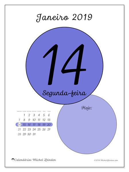 Calendário de janeiro  de 2019 (45-14SD). Calendário diário para imprimir gratuitamente.