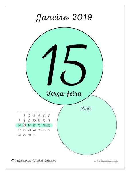 Calendário de janeiro  de 2019 (45-15SD). Calendário diário para imprimir gratuitamente.
