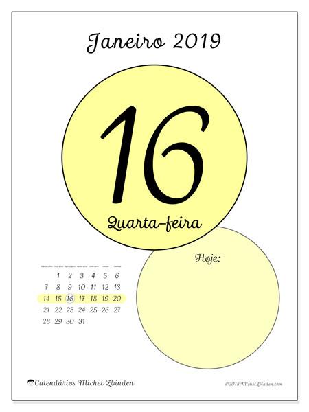 Calendário de janeiro  de 2019 (45-16SD). Calendário diário para imprimir gratuitamente.