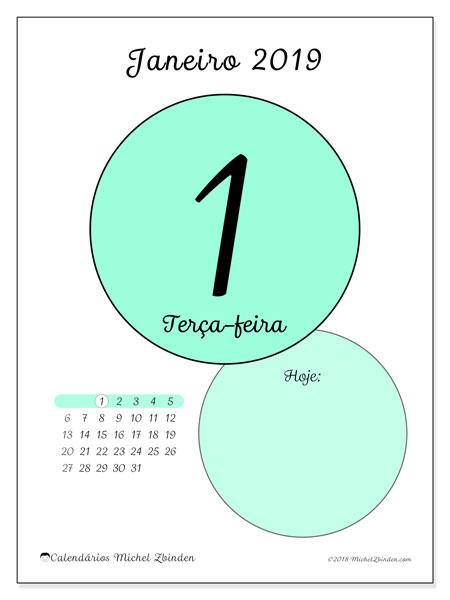 Calendário janeiro 2019, 45-1DS. Calendário para o dia imprimir grátis.