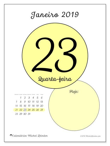 Calendário janeiro 2019, 45-23SD. Calendário para o dia imprimir grátis.