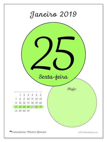 Calendário janeiro 2019, 45-25SD. Calendário para o dia imprimir grátis.