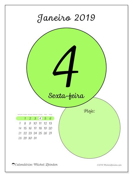 Calendário janeiro 2019, 45-4SD. Calendário diário para imprimir gratuitamente.