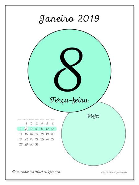 Calendário de janeiro  de 2019 (45-8SD). Calendário diário para imprimir gratuitamente.