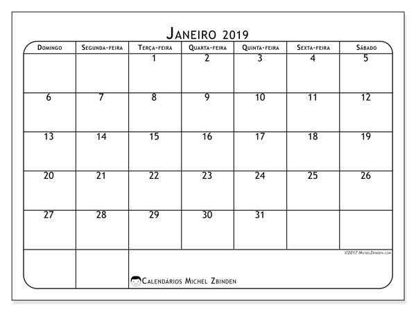 Calendário  janeiro de 2019, 51DS