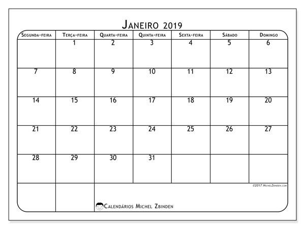 Calendário janeiro 2019, 51SD. Horário para imprimir livre.