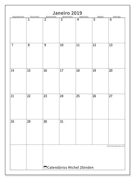 Calendário de janeiro  de 2019 (52SD). Calendário mensal para imprimir gratuitamente.