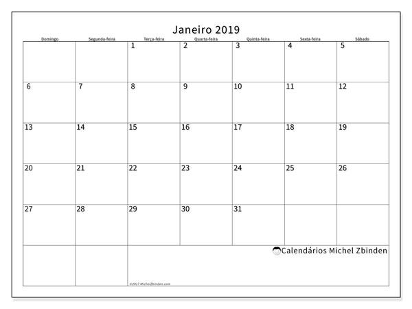 Calendário  janeiro de 2019, 53DS