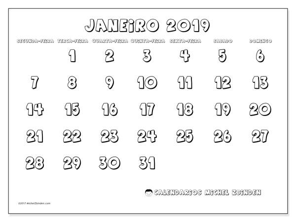 Calendário de janeiro  de 2019 (56SD). Horário para imprimir livre.