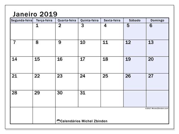 Calendário janeiro 2019, 57SD. Calendário gratuito para imprimir.