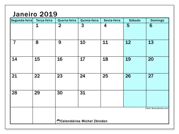 Calendário de janeiro  de 2019 (59SD). Calendário para o mês para imprimir livre.