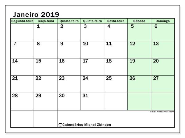Calendário janeiro 2019, 60SD. Calendário para o mês para imprimir livre.