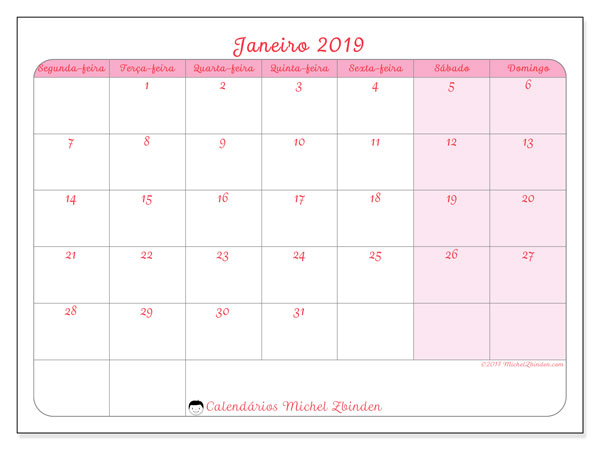 Calendário janeiro 2019, 63SD. Calendário mensal para imprimir gratuitamente.