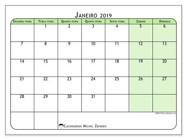Calendário de janeiro  de 2019 (65SD). Calendário para imprimir livre.