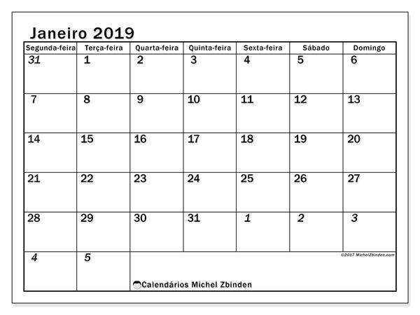 Calendário de janeiro  de 2019 (66SD). Agenda para imprimir livre.