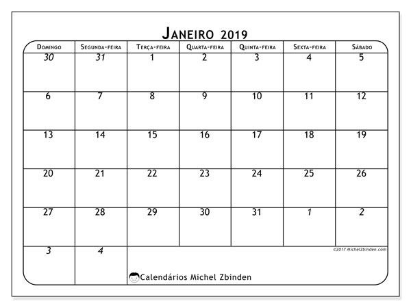 Calendário  janeiro de 2019, 67DS