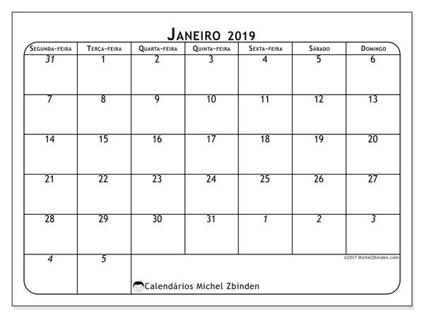 Calendário de janeiro  de 2019 (67SD). Calendário para imprimir livre.