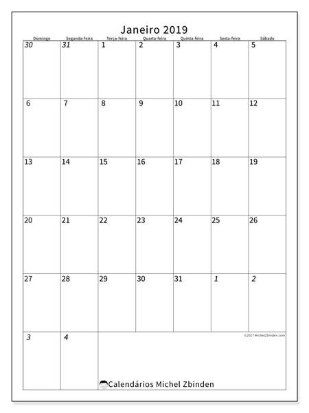 Calendário  janeiro de 2019, 68DS