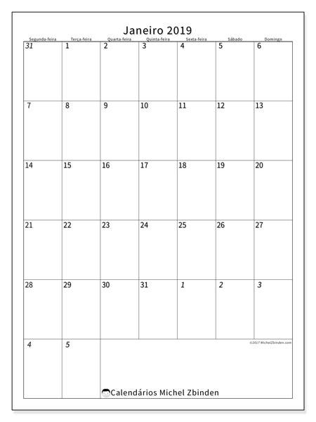 Calendário janeiro 2019, 68SD. Agenda para imprimir livre.