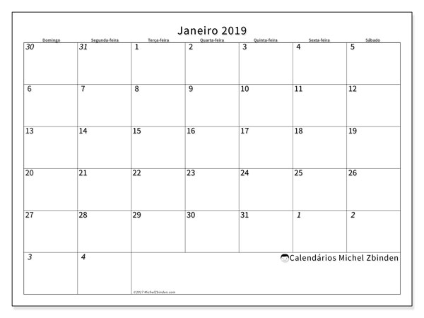 Calendário  janeiro de 2019, 70DS