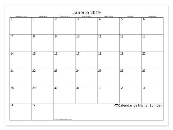 Calendário de janeiro  de 2019 (70SD). Calendário para imprimir livre.