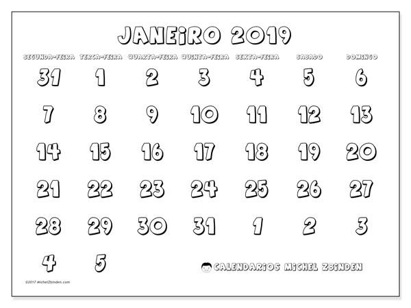 Calendário janeiro 2019, 71SD. Calendário para o mês para imprimir livre.