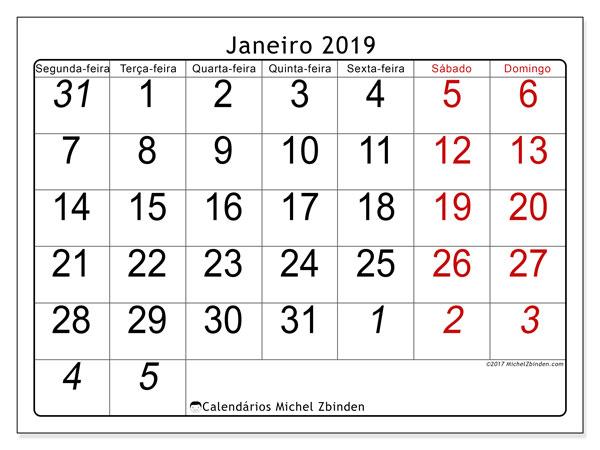 Calendário janeiro 2019, 72SD. Agenda para imprimir livre.