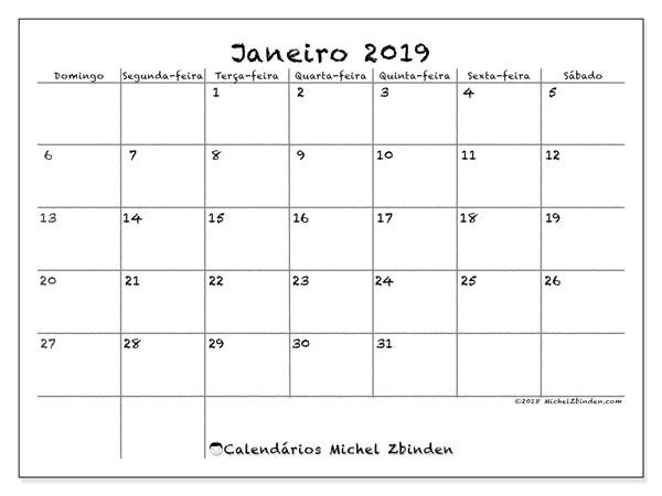 Calendário  janeiro de 2019, 77DS