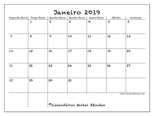Calendário janeiro 2019, 77SD. Agenda para imprimir livre.