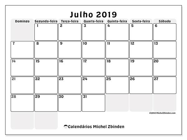 Calendário julho 2019, 44DS. Calendário gratuito para imprimir.