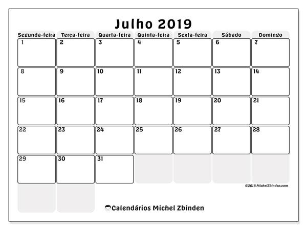 Calendário julho 2019, 44SD. Calendário para imprimir livre.