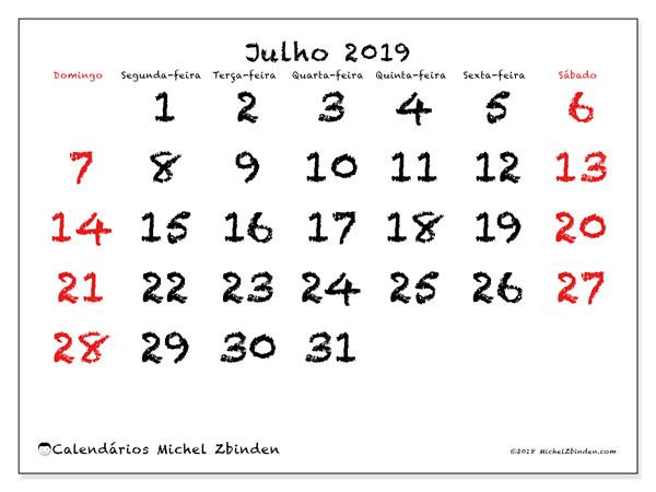 Calendário julho 2019, 46DS. Agenda para imprimir livre.