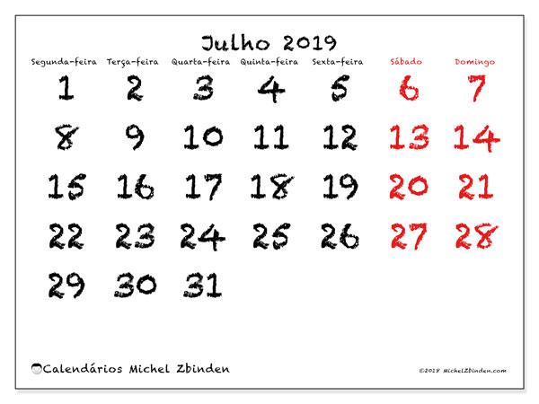 Calendário julho 2019, 46SD. Agenda para imprimir livre.