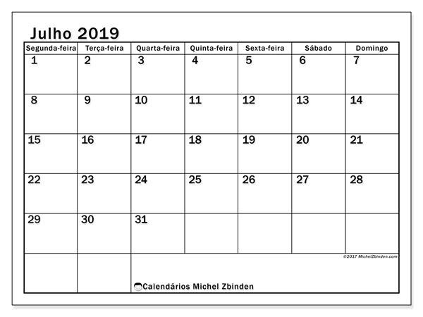 Calendário julho 2019, 50SD. Calendário para imprimir livre.