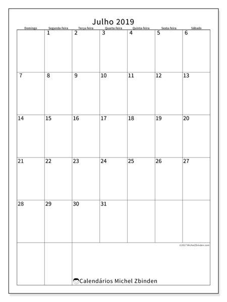 Calendário julho 2019, 52DS. Calendário para imprimir livre.