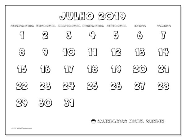 Calendário julho 2019, 56SD. Calendário gratuito para imprimir.