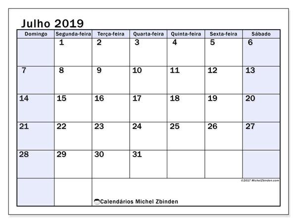 Calendário julho 2019, 57DS. Horário para imprimir livre.