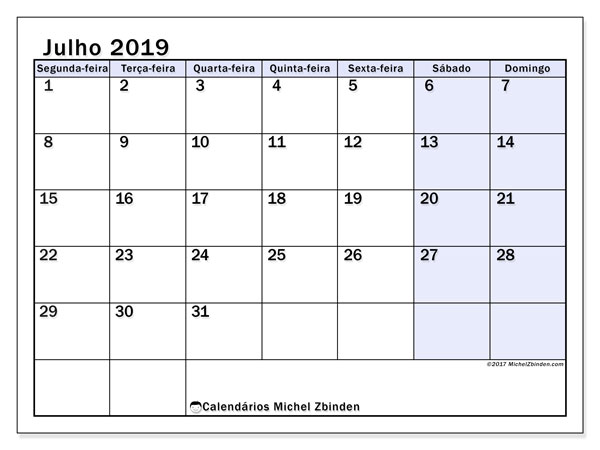 Calendário julho 2019, 57SD. Calendário mensal para imprimir gratuitamente.